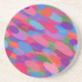 Posavasos De Arenisca Modelo abstracto colorido de las gotitas del arco