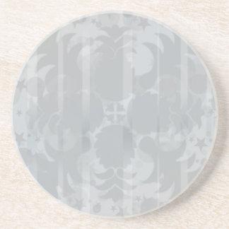 Posavasos De Arenisca Modelo floral del gris de plata del vintage