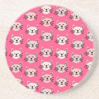 Posavasos De Arenisca Modelo lindo del gato en rosa