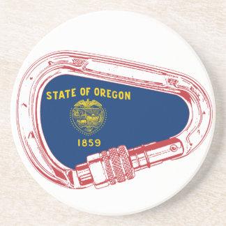 Posavasos De Arenisca Mosquetón que sube de la bandera de Oregon