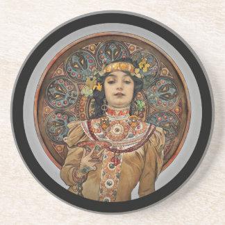 Posavasos De Arenisca Mujer con el vidrio de Champán