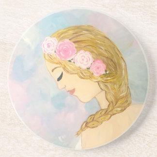 Posavasos De Arenisca Mujer con las flores en su pelo