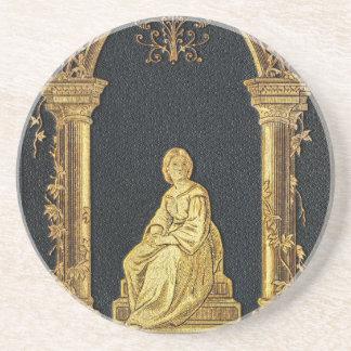 Posavasos De Arenisca Mujer de Falln en cubierta de libro del oro