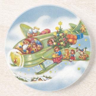 Posavasos De Arenisca Navidad del vintage, Papá Noel que vuela un
