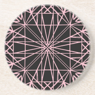 Posavasos De Arenisca Negro y pálido - simetría geométrica rosada