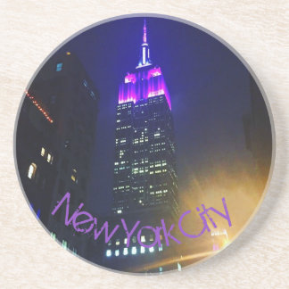 Posavasos De Arenisca Noche púrpura del Empire State Building del