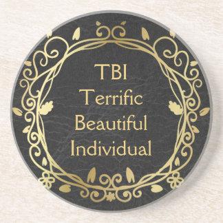 Posavasos De Arenisca Oro individual hermoso fabuloso de TBI en negro