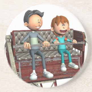 Posavasos De Arenisca Padre e hijo del dibujo animado en una noria