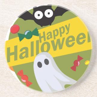 Posavasos De Arenisca Palos y fantasmas del feliz Halloween