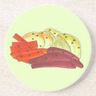Posavasos De Arenisca Patata irlandesa de la col de la carne en lata del
