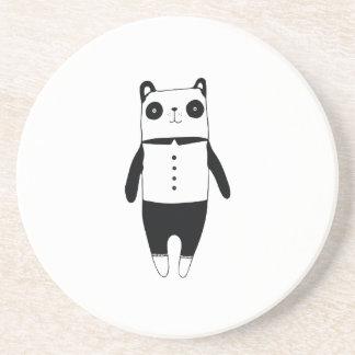 Posavasos De Arenisca Pequeña panda blanco y negro