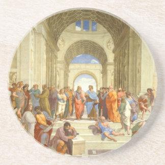"""Posavasos De Arenisca Pintura original """"la escuela de Atenas"""" por"""