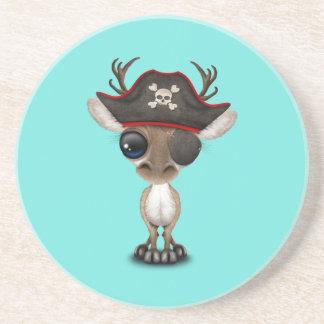 Posavasos De Arenisca Pirata lindo del reno del bebé