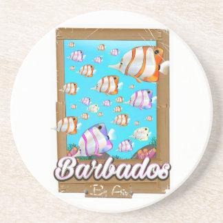 Posavasos De Arenisca Poster tropical del viaje de los pescados de