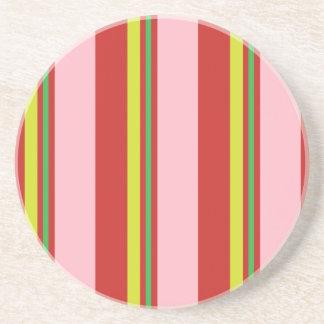 Posavasos De Arenisca Rayas/amarillo y verde lima rosados