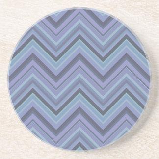 Posavasos De Arenisca rayas Azul-grises del zigzag