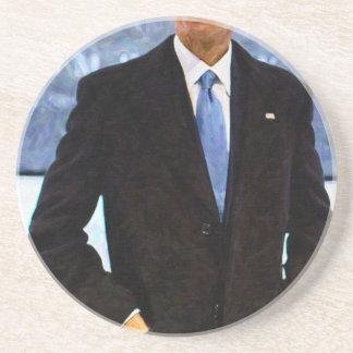 Posavasos De Arenisca Retrato abstracto de presidente Barack Obama 10