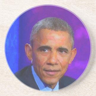 Posavasos De Arenisca Retrato abstracto de presidente Barack Obama 8