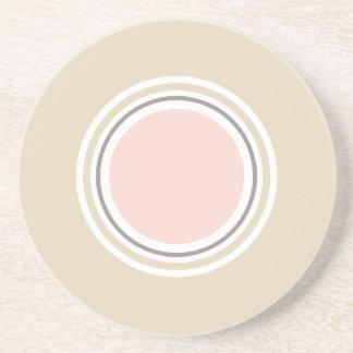 Posavasos De Arenisca Rosa y práctico de costa redondo beige