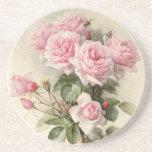 Posavasos De Arenisca Rosas románticos del Victorian del vintage