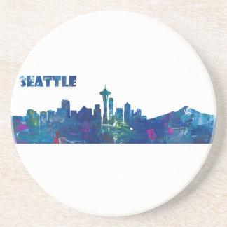 Posavasos De Arenisca Silueta del horizonte de Seattle