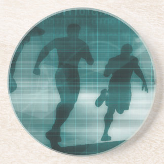 Posavasos De Arenisca Silueta del software del perseguidor del App de la