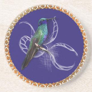 Posavasos De Arenisca Turquesa verde y azul con el colibrí púrpura