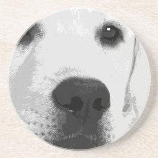 Posavasos De Arenisca Un labrador retriever blanco y negro
