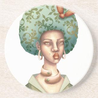 Posavasos De Arenisca Vaya con para - la señora con arte único del Afro