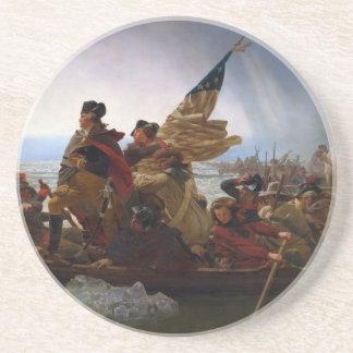 Posavasos De Arenisca Washington que cruza arte del vintage del Delaware