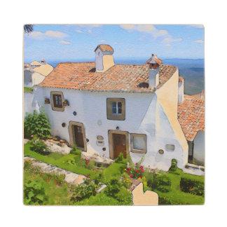 Posavasos De Madera Casa mediterránea de la acuarela