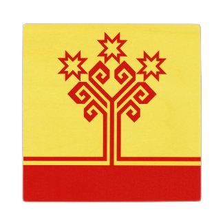 Posavasos De Madera Chuvashia señala por medio de una bandera