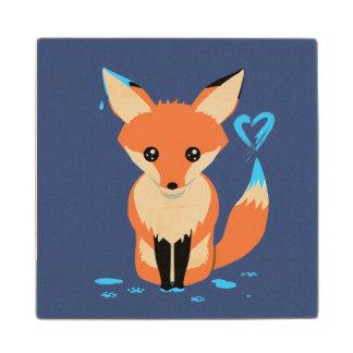 Posavasos De Madera Fox que pinta el práctico de costa de madera lindo