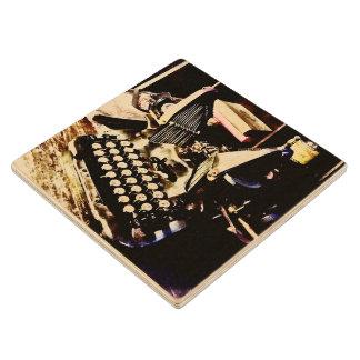 Posavasos De Madera Máquina de escribir antigua Oliverio #9