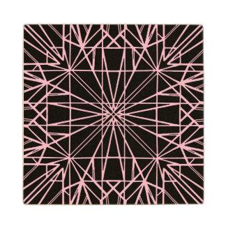 Posavasos De Madera Negro y pálido - simetría geométrica rosada