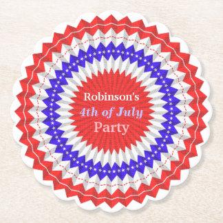 Posavasos De Papel 4to del personalizado azul blanco rojo patriótico