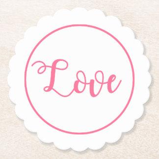 Posavasos De Papel Boda rosado y blanco del amor, fiesta de ducha
