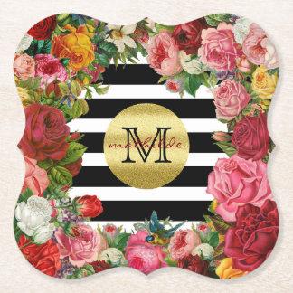 Posavasos De Papel Brillo de moda del oro de las flores de los rosas