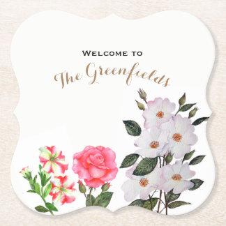 Posavasos De Papel El rosa de encargo florece arte floral