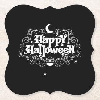 Posavasos De Papel Feliz Halloween blanco y negro