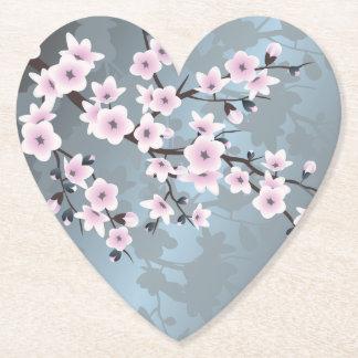 Posavasos De Papel Flores de cerezo azules grisáceas rosadas oscuras