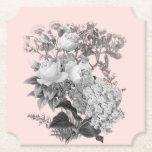 Posavasos De Papel Flores de época con rosa polvoriento
