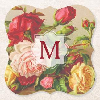 Posavasos De Papel Flores del ramo de los rosas del Victorian del