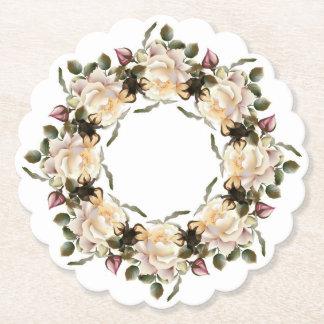 Posavasos De Papel Guirnalda del rosa blanco horneada a la crema y