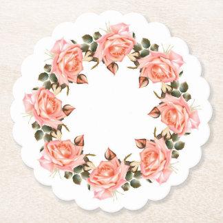 Posavasos De Papel Guirnalda rosada del rosa horneada a la crema y