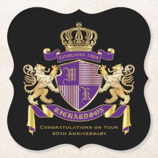 Posavasos De Papel Haga su propio emblema de la corona del monograma