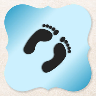 Posavasos De Papel Impresiones azules del pie