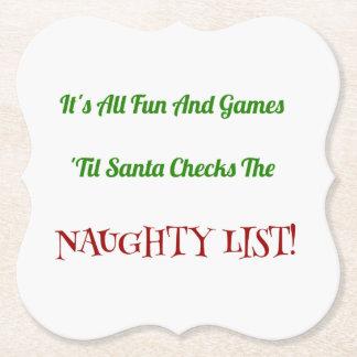 Posavasos De Papel Lista traviesa del navidad chistoso decorativa