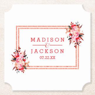Posavasos De Papel Monograma floral del melocotón y del boda de la