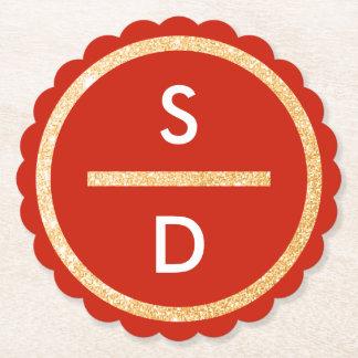 Posavasos De Papel Monograma vertical del falso del oro círculo del